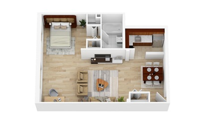 Large Studio   From $1519 - Studio floorplan layout with 1 bath and 554 square feet