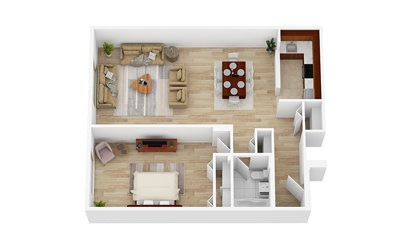 1 Bedroom   From $1648 - 1 bedroom floorplan layout with 1 bath and 730 square feet