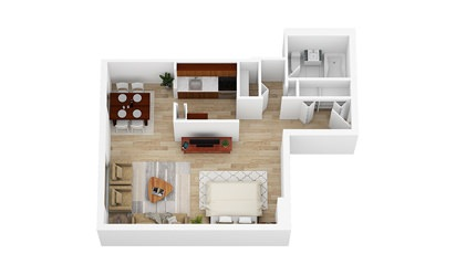 Small Studio   From $1390 - Studio floorplan layout with 1 bath and 465 square feet