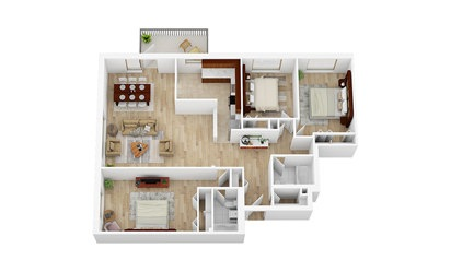 3 Bedroom, 2 Bathroom   From $2781 - 3 bedroom floorplan layout with 2 bath and 1308 square feet