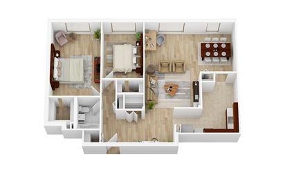 2 Bedroom, 1 Bathroom   From $2112 - 2 bedroom floorplan layout with 1 bath and 1037 square feet