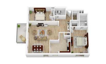 2 Bedroom, 2 Bathroom   From $2112 - 2 bedroom floorplan layout with 2 bath and 1161 square feet